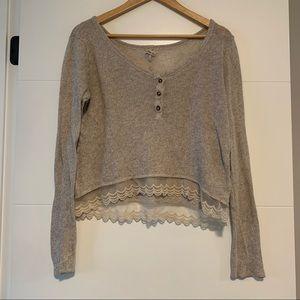 Hollister | Knit & Lace Long Sleeve Shirt